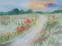 Färgrikt blommafält, vattenfärgmålning Royaltyfri Bild
