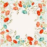 Färgrikt blommahälsningkort Royaltyfri Foto