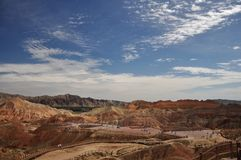 Färgrikt Danxia landskap, mycket härligt landskap Royaltyfri Foto