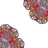 Färgrikt dekorativt etniskt kort med mandalaen Royaltyfria Bilder