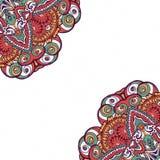 Färgrikt dekorativt etniskt kort med mandalaen Arkivbild