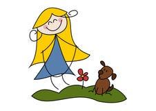 Lycklig flicka med ett hopprep Arkivbild