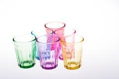 Färgrikt dricka exponeringsglas Fotografering för Bildbyråer