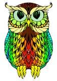 Färgrikt emblem, logo av den kloka kon på den vita bakgrunden Royaltyfria Bilder