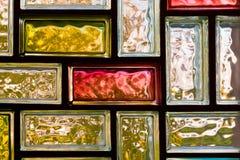 färgrikt exponeringsglas för tegelstenar Royaltyfria Foton