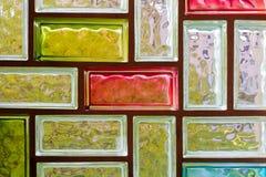färgrikt exponeringsglas för tegelstenar Arkivbilder