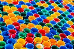 Färgrikt exponeringsglas i rad Arkivbild