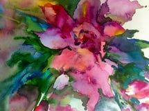 Färgrikt för vår för härlig blå rosa violett blomma för abstrakt begrepp för vattenfärgkonstbakgrund magiskt texturerat blom- Royaltyfri Bild