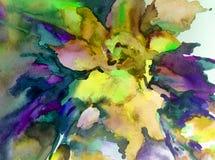 Färgrikt för vår för härlig gul blomma för abstrakt begrepp för vattenfärgkonstbakgrund magiskt texturerat blom- Royaltyfria Bilder