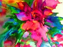 Färgrikt för vår för härlig gul blomma för abstrakt begrepp för vattenfärgkonstbakgrund magiskt texturerat blom- Royaltyfri Bild