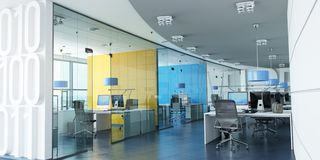 Färgrikt företags kontor stock illustrationer
