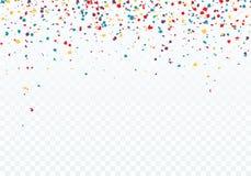 färgrikt falla för konfettiar Överkanten av modellen dekoreras med konfettier Vektorillustration som isoleras på genomskinlig bak arkivfoton