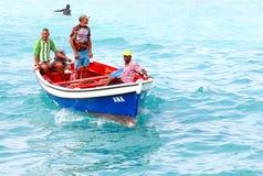 Färgrikt fartyghav för fiskare, Kap Verde, Afrika royaltyfria foton