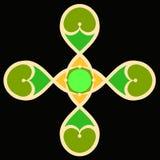 Färgrikt figurerat kors med hjärtor på en svart bakgrund, smattrande royaltyfri illustrationer
