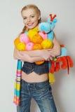 färgrikt flickagarn Fotografering för Bildbyråer