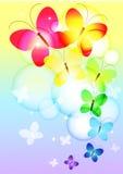 färgrikt flyg för fjärilar Arkivfoto