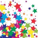 Färgrikt flyg för konfettier som isoleras på vit Fotografering för Bildbyråer