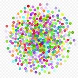 Färgrikt flyg som faller beståndsdelarna av garnering av berömmen Abstrakt bakgrund med fallande konfettier Arkivfoton