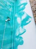 Färgrikt geen grafitti för blåttkvinnaframsidan i bakgård royaltyfria bilder