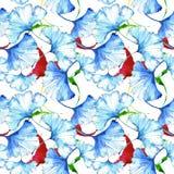 Färgrikt ginkgoblad för vattenfärg Blom- lövverk för bladväxtbotanisk trädgård Seamless bakgrund mönstrar Royaltyfri Foto