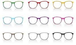 Färgrikt glasögon med skugga på vit bakgrund Vektor Illustrationer
