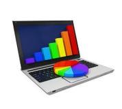 Färgrikt grafdiagram och bärbar dator Fotografering för Bildbyråer