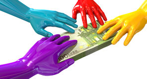 Färgrikt gripa för händer på euroanmärkningar Royaltyfri Fotografi