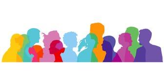 färgrikt gruppfolk royaltyfri illustrationer