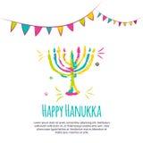 Färgrikt hälsningkort för lycklig Chanukkah med hand drog beståndsdelar på vit bakgrund royaltyfri fotografi
