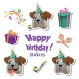 Färgrikt hälsningkort för lycklig födelsedag Stock Illustrationer