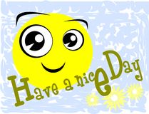 Färgrikt ha ett hälsningkort för trevlig dag med leende royaltyfri illustrationer