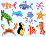 färgrikt hav för djur stock illustrationer