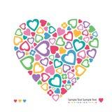 Färgrikt hjärtahälsningkort Arkivbild