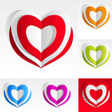 färgrikt hjärtapapper Arkivbilder