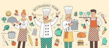 Färgrikt horisontalbaner med chefen, kocken, uppassaren och servitrins som omges av livsmedelsprodukter och köksgeråd vektor illustrationer