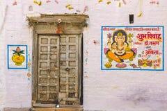 Färgrikt hus på den tiden av Rajasthan bröllop royaltyfri foto