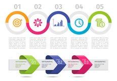 Färgrikt Infographic processdiagram och pilar med moment upp alternativ vektor royaltyfri illustrationer