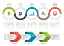 Färgrikt Infographic processdiagram och pilar med moment upp alternativ vektor vektor illustrationer