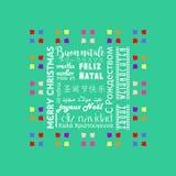 Färgrikt julhälsningkort som är skriftligt i italienare för flera språk, grön färg för hav Royaltyfria Bilder