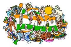 Färgrikt klotter på det Indien begreppet royaltyfri illustrationer
