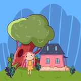 Färgrikt klotterlandskap med det lilla huset, den gamla gröna eken och den gulliga felika flickan Barnslig linje vektor tecknad h royaltyfri illustrationer