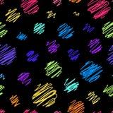 Färgrikt klottra den sömlösa modellen på en svart bakgrund Moderiktigt, trevligt och gulligt vektor illustrationer
