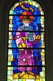Färgrikt konstverk av St James, målat glassfönster royaltyfri fotografi