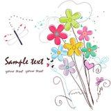 Färgrikt kort för hälsning för klotterblommagräns Royaltyfria Foton