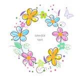 Färgrikt kort för hälsning för ram för cirkel för klottervårblommor Royaltyfria Foton