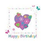 Färgrikt kort för lycklig födelsedag för hjärtor Royaltyfria Foton