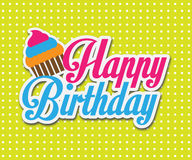 Färgrikt kort för lycklig födelsedag. Vektorillustrationdesign Royaltyfria Bilder