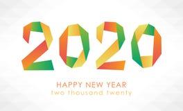 Färgrikt kort för lyckligt nytt år 2020 royaltyfri illustrationer