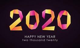 Färgrikt kort för lyckligt nytt år 2020 stock illustrationer