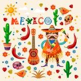 Färgrikt kort för vektor om Mexico Loppaffisch med mexikanska objekt royaltyfri illustrationer